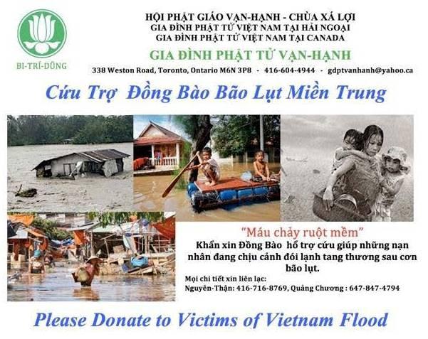 GĐPT Vạn Hạnh,Canada Lạc Quyên Cứu Trợ Bão Lụt Miền Trung Việt Nam