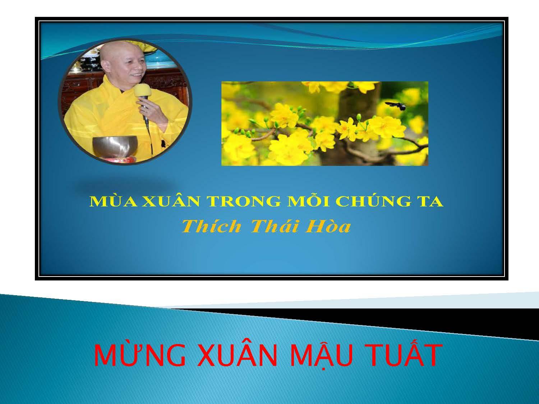 MÙA XUÂN TRONG MỖI CHÚNG TA . Thích Thái Hòa